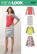 6230 New Look Pattern: Misses' Knit Top and Full or Pencil Skirt